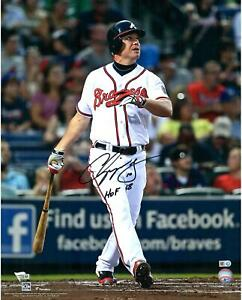 "Chipper Jones Braves Signed 16"" x 20"" Hitting Photo w/ HOF 2018 Insc- Fanatics"