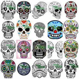 sugar skull iron on t shirt heat transfer day of the dead mexican