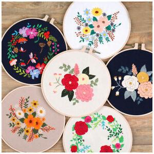 Embroidery-Starter-Kit-with-Pattern-Folk-Floral-Cross-Stitch-Hoop-art