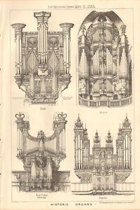 Design Print Historic Organs,exeter,cambridge,argent 1883 Antique Architecture