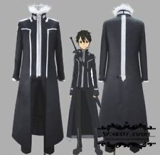 HOT Anime Sword Art Online Kirito Kazuto Kirigaya Cosplay Black Costume Cloak
