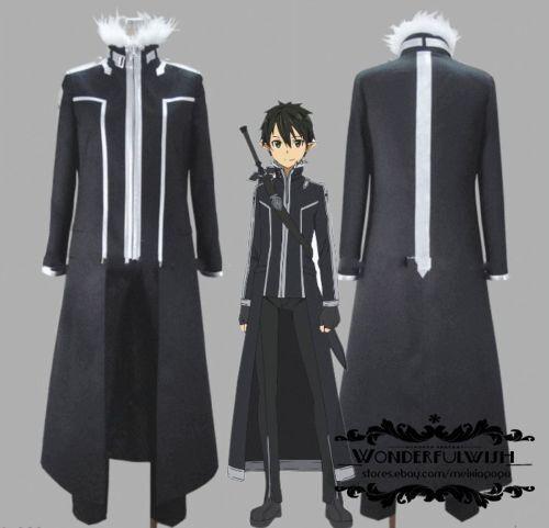 Sword Art Online Kirito Halloween Cosplay Costume Suit Coat of Midnight Outfit