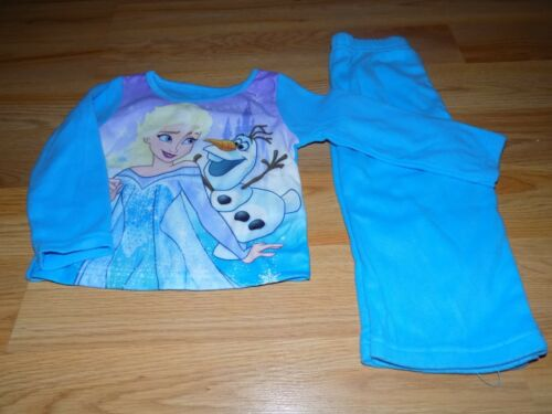 Size 2T Disney Frozen Queen Elsa Olaf Blue 2 Piece Sleepwear Set Flannel Pajamas