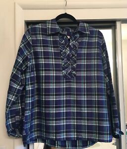 Talbots-Blue-Green-Tartan-Plaid-Ruffle-Neck-1-2-Button-Popover-Blouse-Stunning
