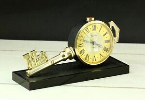 1980's Slava Moscow Key alarm mechanical table clock. Made in USSR, retro