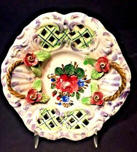 Image is loading Italian-Ceramic-Hand-Painted-Nova-Rosa-Plate-Bowl- & Italian Ceramic Hand Painted Nova Rosa Plate Bowl Majolica Flower ...