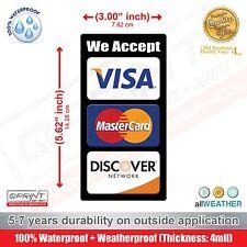 CREDIT CARD LOGO DECAL VINYL STICKER - Visa MasterCard Discover Door Window Shop