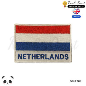 NETHERLANDS-National-Flag-With-Name-Embroidered-Iron-On-Sew-On-Patch-Badge