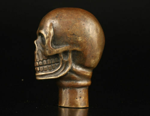 Chinese Old Bronze Hand Carved Dog Bitten skull Statue Cane Walking Stick Head