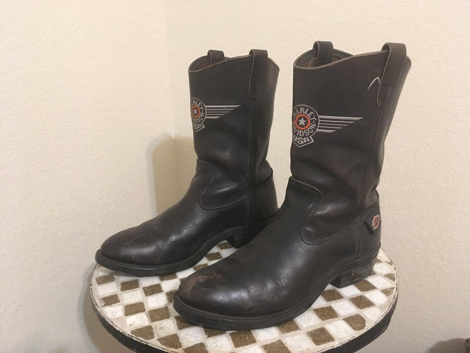 Noir effet vieilli vintage USA HARLEY DAVIDSON Moto Cowboy bottes 9 m