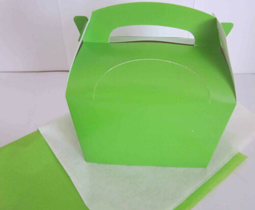 PARTY LIME GREEN GIFT BOX AND x 2 TISSUE PAPER FAVOUR PICNIC LUNCH MEAL BOXES