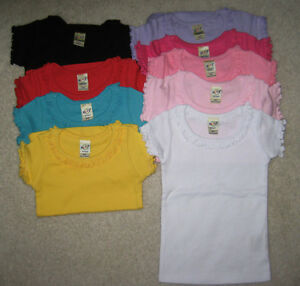 Blank ruffle trimmed girls t shirt 100 cotton transfer for Blank polo shirts for embroidery
