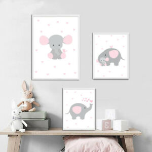 Animal Elephant Canvas Poster Nursery Wall Art Print Painting Baby Bedroom Decor Ebay