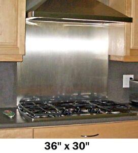 backsplash w hemmed edges stainless steel kitchen range oven stove tile 36x30in 753182825168 ebay. Black Bedroom Furniture Sets. Home Design Ideas