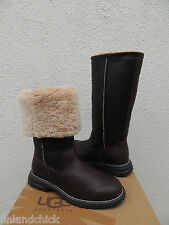 UGG BROOKS TALL BROWN LEATHER/ SHEARLING LINED WINTER BOOTS, US 10/ EUR 41 ~ NIB
