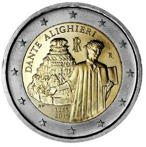 ITALIE 2 Euro Commémorative 750e Naissance de Dante Alighieri 2015 UNC
