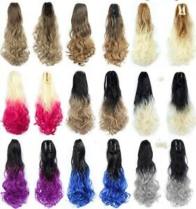 Brown-Blonde-Curly-Wave-Heat-Resistant-Ponytail-Hair-Extension-Ombre-Hairpiece