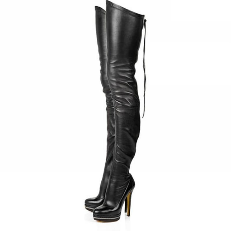 Stiletto Heel Platform Women's Zip Over The Knee Thigh High Boot Pu Leather Size