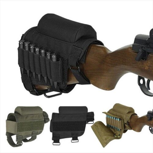 Portable Tactical Butt Stock Rifle Cheek Pouch Holder Pack Ammo Carrier Case Bag