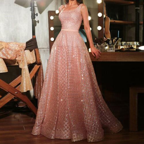 UK Women Ladies Sequins Ballgown Prom Evening Party Long Formal High Waist Dress