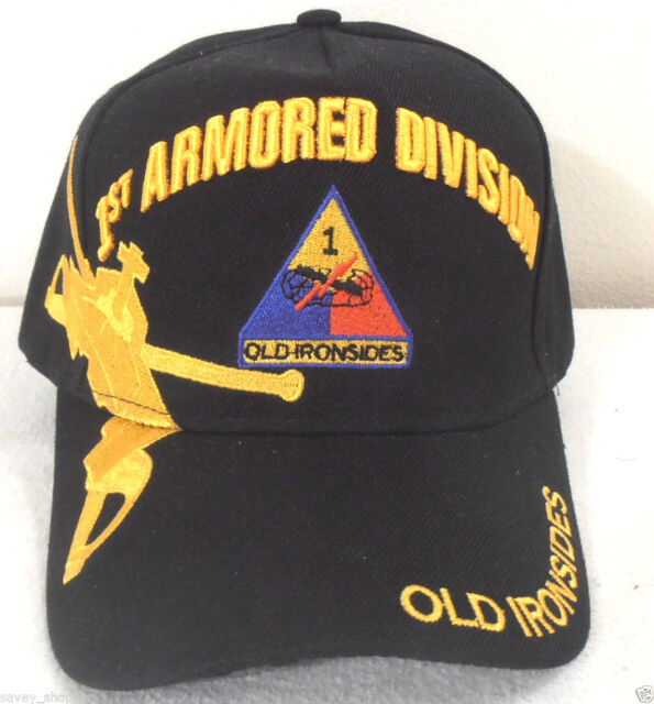 f997c3acaf0 Military Cap 1st Armored Division Army Black Hat Old Ironsides