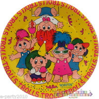 Troll Dolls Large Paper Plates (8) Vintage Birthday Party Supplies Luncheon