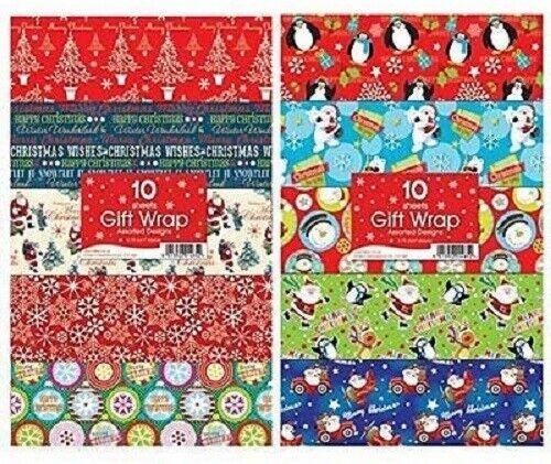 30 x Feuilles de Noël Xmas Cadeau Papier Cadeau Assorted Designs