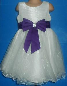 b0e609f5b87 Image is loading Cadbury-Purple-Ivory-Flower-Girl-Bridesmaid-Prom-Sparkly-