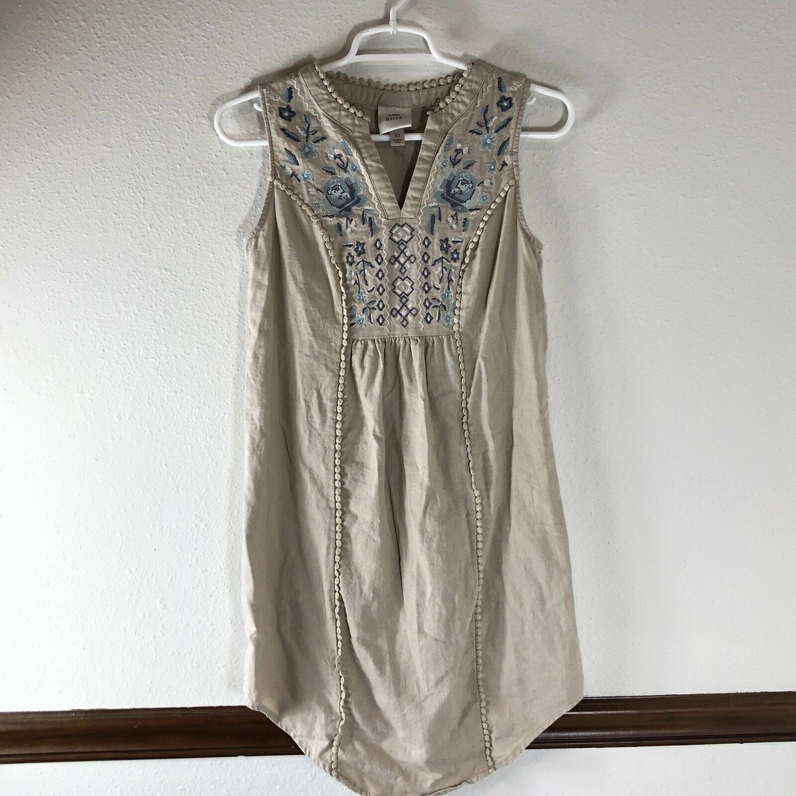 Knox Rose Womans Dress Size XS Linen Blend Sleeveless V Neck Tan Peasant