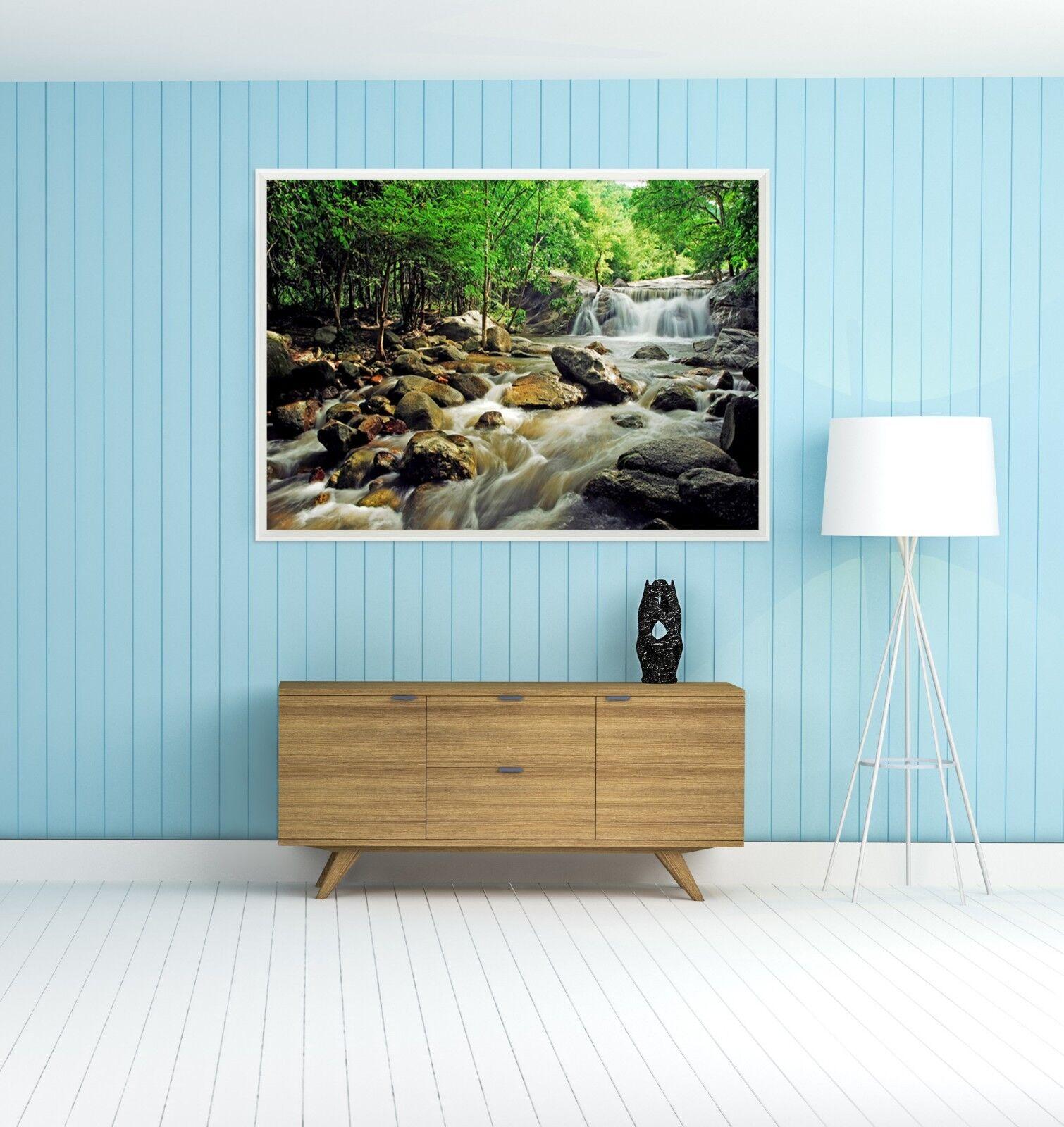 3D Stones Creek Forest  2 Framed Poster Home Decor Print Painting Art WALLPAPER