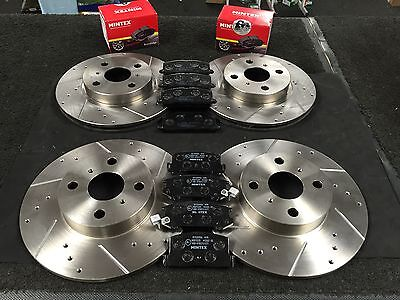 TOYOTA MR2 MK1 AW11 1984-1990 BRAKE DISC CROSS DRILLED GROOVED  PADS FRONT REAR