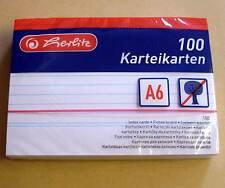 100 Karteikarten Herlitz DIN A6 weiss liniert ( white mit Linien Büro ) Neu