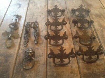 Lot Of 13 Vintage Bail Drawer Pulls Brass / Decorative Drawer Pulls / Lion  Head