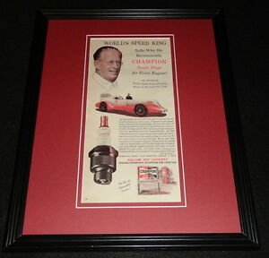 Ab Jenkins 1951 Champion Spark Plugs 11x14 Framed ORIGINAL Vintage Advertisement