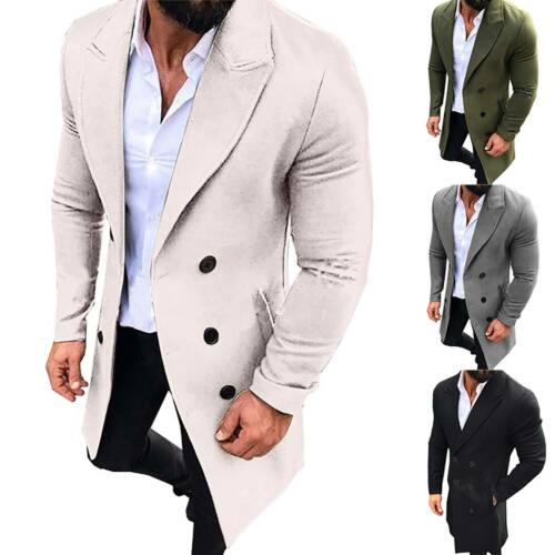 Mens Winter Trench Coat Double Breasted Formal Outwear Long Jacket Warm Overcoat
