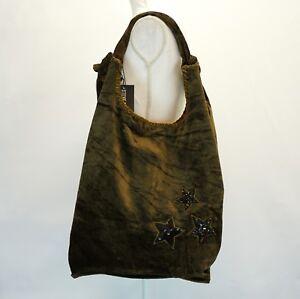 69eb62ae97f Details about Steve Madden Womens Crushed Velvet Hobo Phoenix Embellished  Bag Purse Olive $118