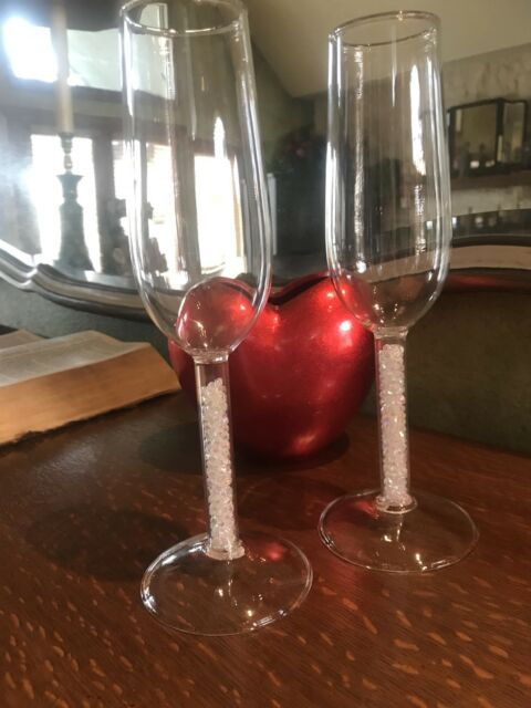 2 Crystal Champagne Flutes Hollow Stems