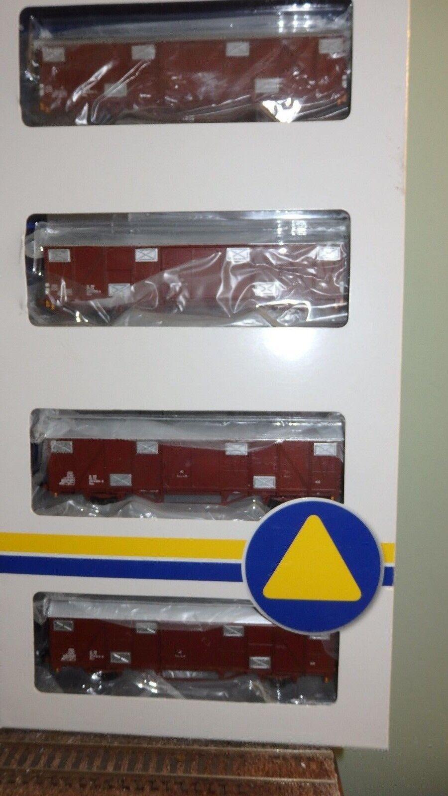 OS.KAR 4220 Set di 4 carri FS 2 assi, 2 Hbchs e 2  Gbhqs con REC, livrea braune