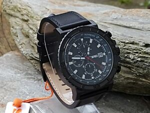 SKMEI-Mens-Black-1350-Anolog-Leather-Strap-Military-Style-Watch