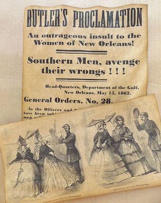 Butler's Proclamation Denouncement Broadside & Harper's Weekly Cartoon Civil War