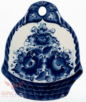 Russian Gzhel Porcelain Cheese Cutting Board Basket Of Flowers Souvenir Handmade