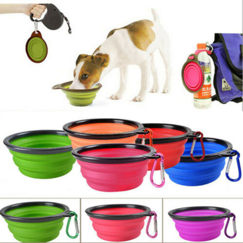Silicone Cat Dog Pet Feeding Bowl Water Dish Feeder Travel Portable Collapsible