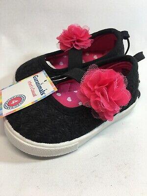 Garanimals  Girls/' BABY//TODDLER FLOWER Mary Jane Shoe BLACK /& PINK SIZE 4 OR 6