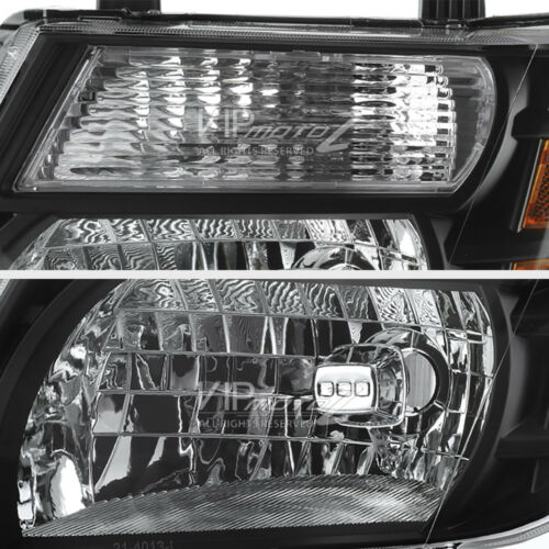 For 08-12 Pathfinder Black Crystal Headlights Front Lamps Replacement Left+Right