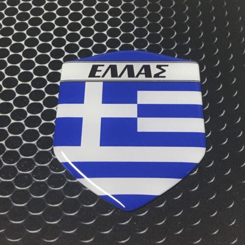 "Greece Hellas Proud Shield Flag Domed Decal Emblem Sticker 3D 2.3/""x 3.3/"" NEW"