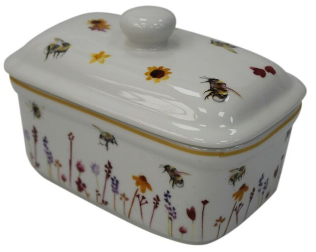 Busy Bees Design Ceramic Butter Dish Bumble Bee /& Flowers