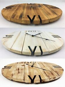 Hand-Made-Burnt-Wooden-Shabby-Rustic-Pallet-Style-Wall-Clock-Recycled-Cottage