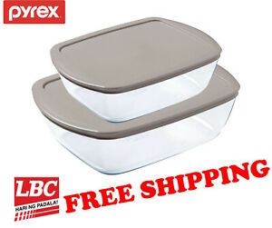 Pyrex-glass-storage-dish-2-5L-1-1L-grey-made-in-France-X-corelle-corningware