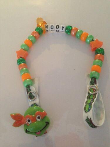 Handmade Teenage mutant Ninja Turtles Personalised Dummy Clips 4 colours