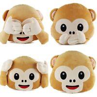 Cute Emoji Monkey Pillow Cushion Plush Doll Toy Home Sofa Living Room Decor